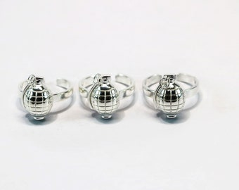 Set of Three Up-Cycled Silver Grenade Ring