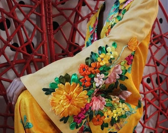 Handmade Suit Crafted with 3D Ribbon Embroidery