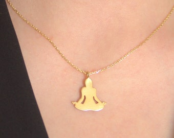 Gold Yoga Charm Necklace, Sukhasana Sitting Yoga Pose, Silver Yoga Jewelry