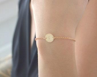 2e2968335 Initial Bracelet,Gold Bracelet,Best Friend Bracelet,Handmade,Engraved,Disc  Bracelet,Rose Bracelet,Atlas Project