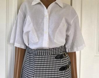 76277606 Diane Von Furstenberg DVF White Button Down Shirt Classic 1980s Size M