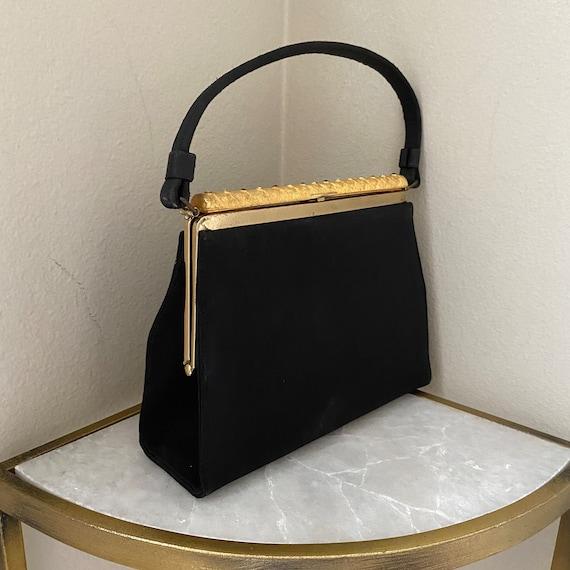 Unused Vintage 1950s Purse Black After Five Cocktail Bag Gold Metal Rhinestone Frame NWT Rockabilly
