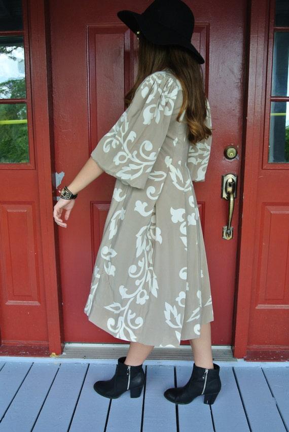 Vintage Dress,Parisian Bohemian Chic Silk Dress b… - image 3