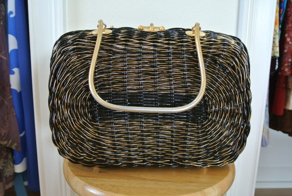 1950s Basket Wicker Purse Black Lacquered with Gol