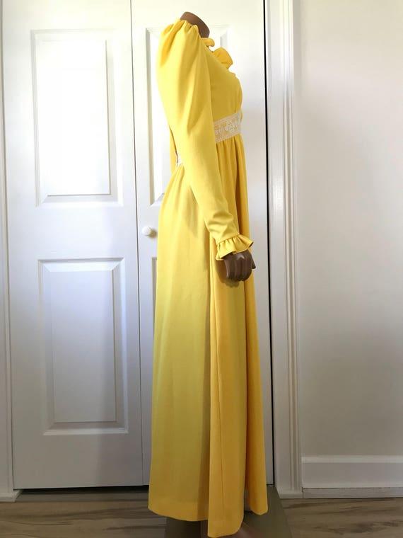 1960s Yellow Hippie Dress Maxi Long Sleeve Boho - image 3