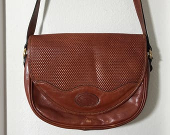 1990s Oroton Leather Cross Body Shoulder bag Warm Brown