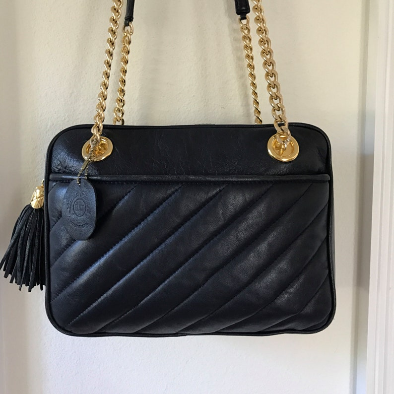 Quilted Leather Handbag Navy Blue Lucien