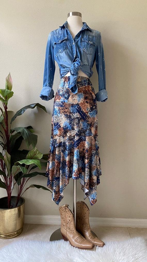 Y2K Skirt Western Midi Skirt Asymmetrical Skirt T… - image 1