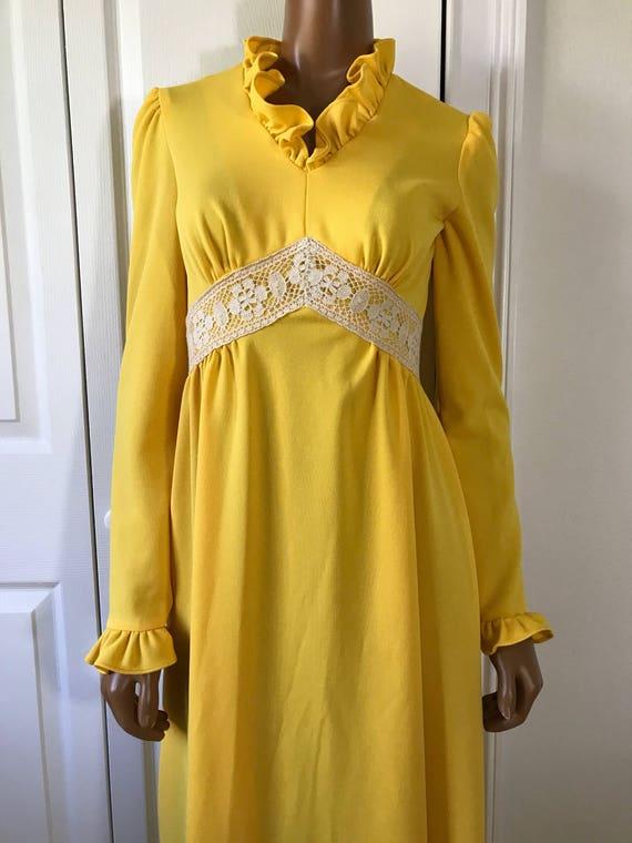 1960s Yellow Hippie Dress Maxi Long Sleeve Boho - image 5