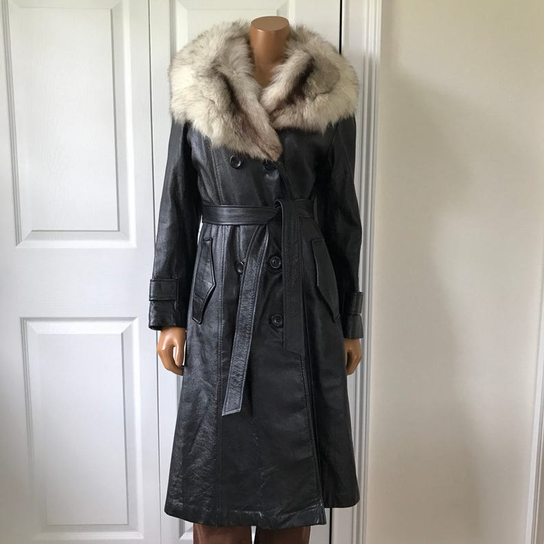 1970s Leather and Fur Coat Jacket Pea Coat Double Breasted Black Supple Leather