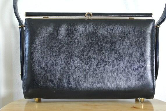 Vintage Handbag.CLEARANCE SALEClearance Sale1960s Mod Retro Minimalist Kelly Handbag by Caprice Black Faux Leather Top Handle