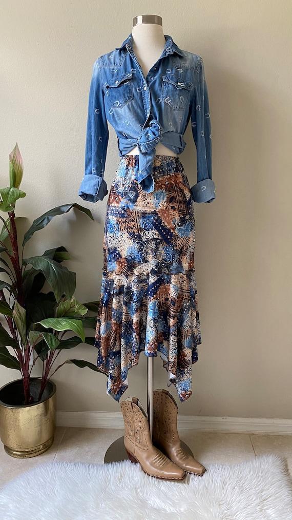 Y2K Skirt Western Midi Skirt Asymmetrical Skirt T… - image 10