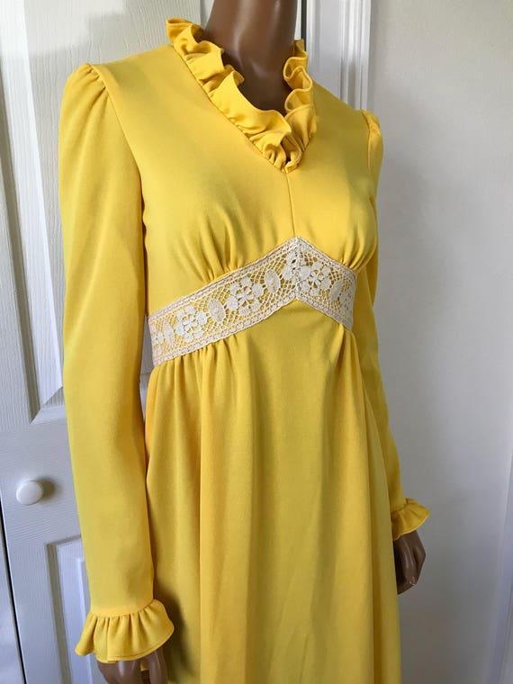 1960s Yellow Hippie Dress Maxi Long Sleeve Boho - image 4