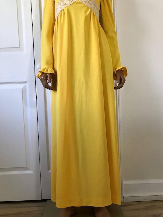 1960s Yellow Hippie Dress Maxi Long Sleeve Boho - image 6