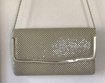 1980s Metal Mesh Clutch Cross Body Beige Handbag