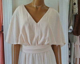 Jack Bryan 1960s Dress/ Nude Blush Ivory/ Chiffon Capelette/Bombshell Party Dress/Wedding Dress/ L/ XL