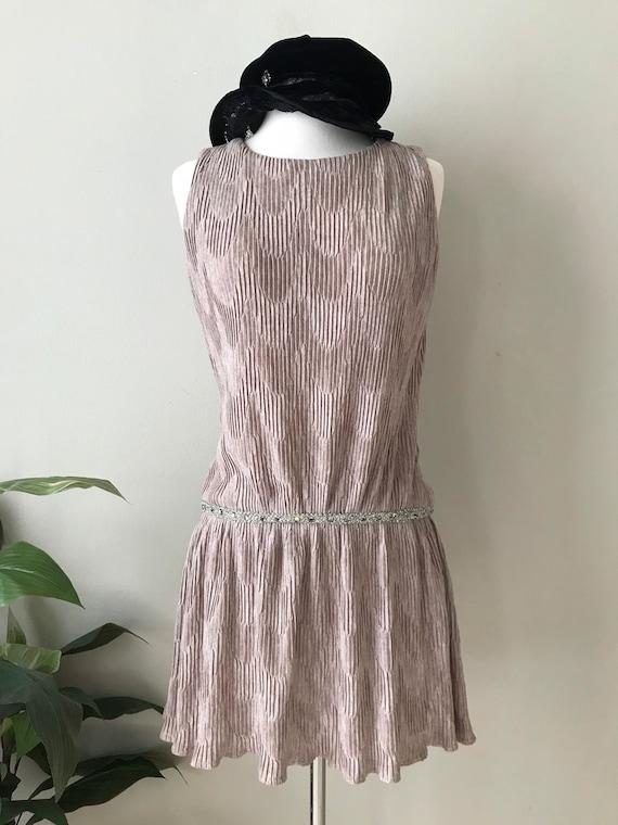 Mr. Mort 1960s Party Dress Drop Waist Taupe Velvet