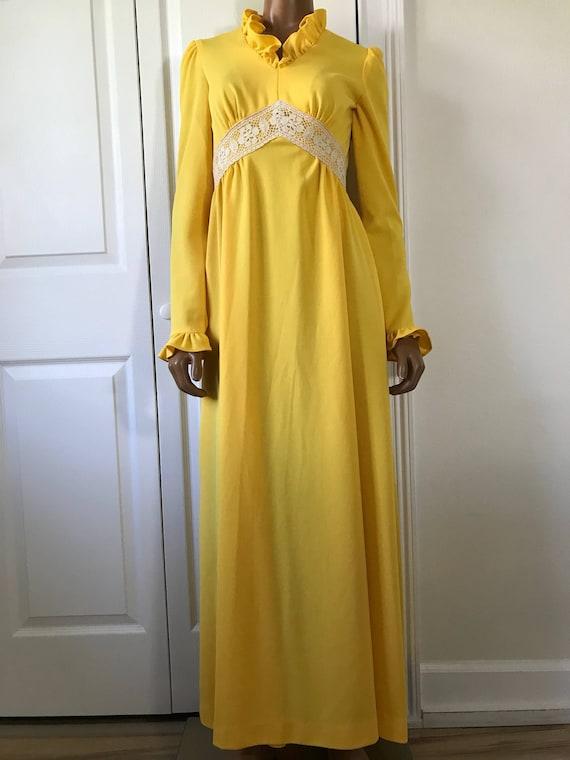 1960s Yellow Hippie Dress Maxi Long Sleeve Boho