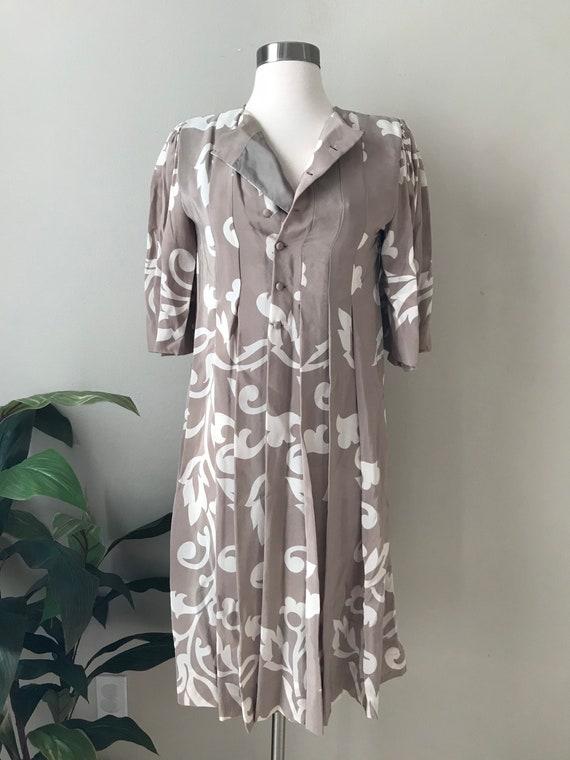 Vintage Dress,Parisian Bohemian Chic Silk Dress b… - image 1