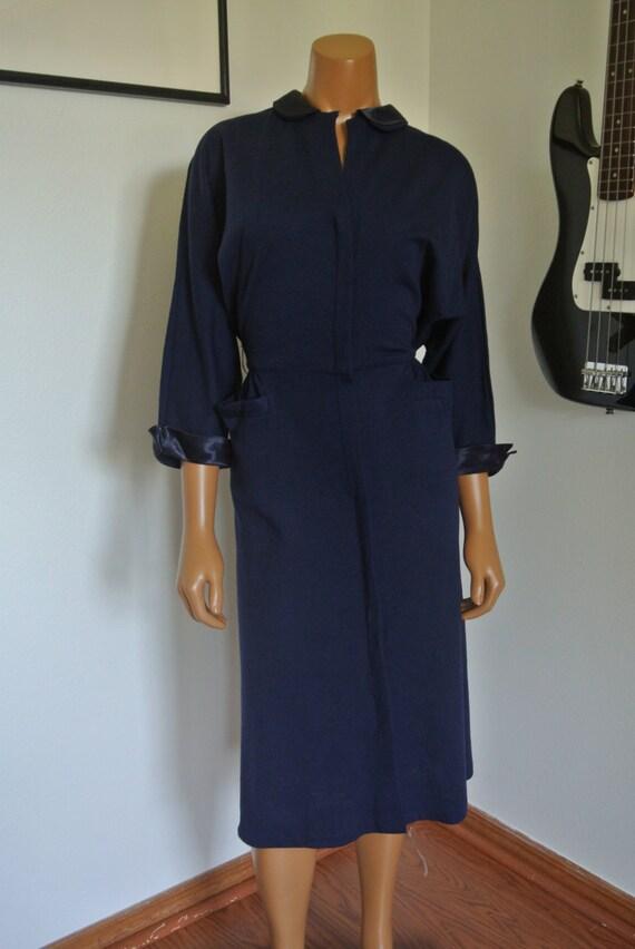 1940s Jerry Gilden Spectator Wool Wiggle Dress Tri