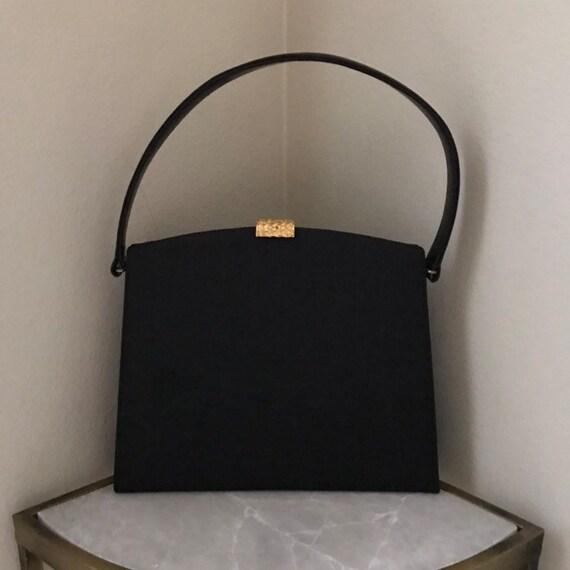 1960s Retro Mod Top Handle Bag Black Canvas Gold C