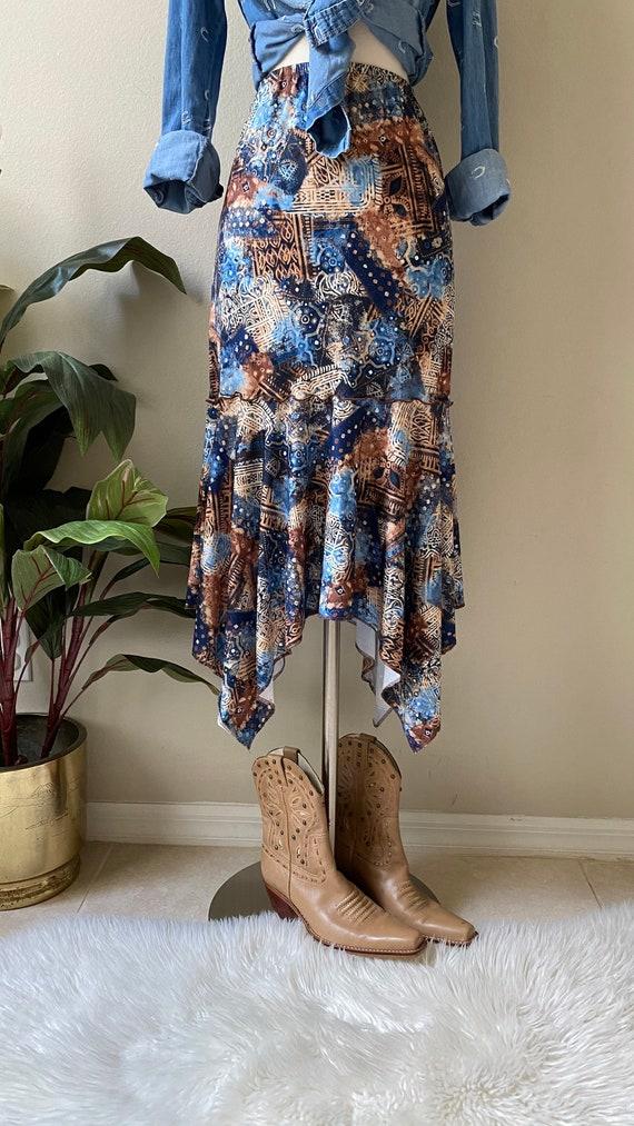 Y2K Skirt Western Midi Skirt Asymmetrical Skirt T… - image 2