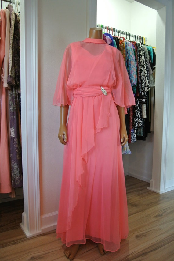 Pink Coral Dress/ 1960s Maxi Party Gown/Chiffon Ca