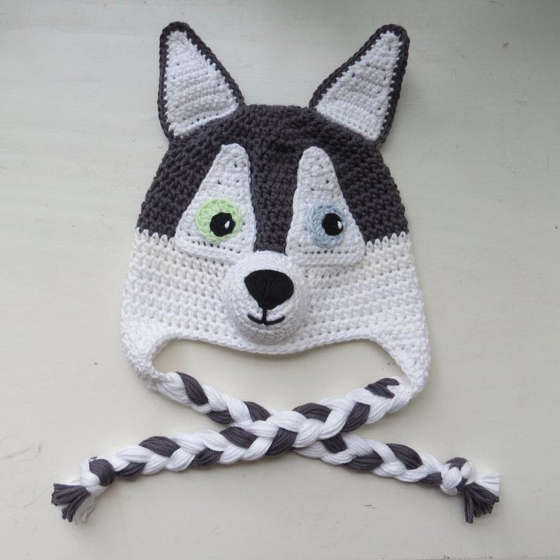 79ca45289ec Husky Dog Hat Handmade Crochet Husky Character Hat Crochet