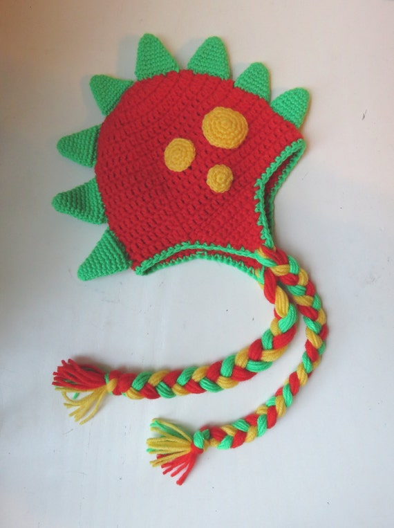 Crochet Dinosaur Character Hat Spiked And Spotted