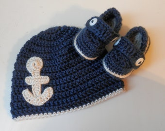 Anchor Baby Cap and Loafers, Crochet Cap and Booties Set, Crochet Baby Hat with Anchor, Crochet Baby Loafers, Crochet Baby Shoes
