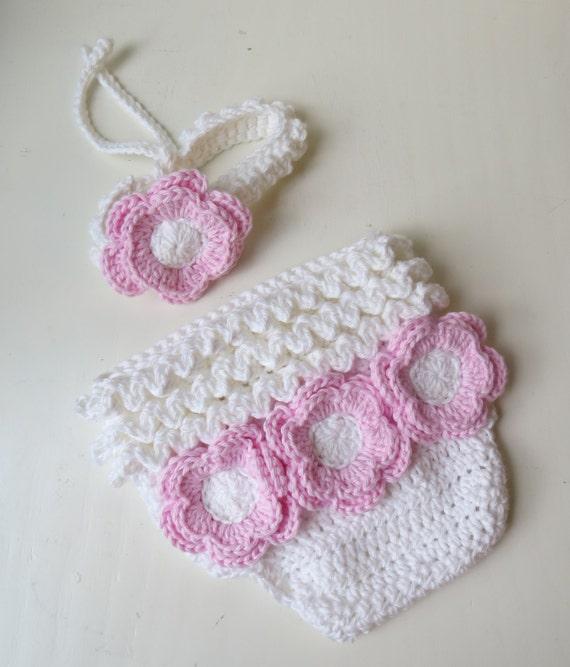 Venda de la muchacha y pañal cubierta de juego del bebé con flores, bebé  niña hecho a mano del ganchillo foto Prop, flor cubre pañal, diadema de ...