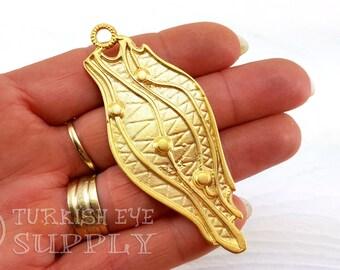 Large Gold Pendant, Tribal Pendant, Gold Jewelry, Ethnic Jewelry, Tribal Jewelry, Bohemian Jewelry, Turkish Jewelry