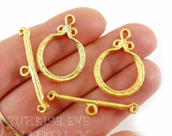 20 Sets Claasic Round Toggle Clasps Sier Jewelry Findings