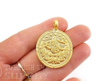 Heavy RomanGreek Coin Charm Pendant Large Gold Coin VC64 RomanGreek Gold Plated Coin Pendant Thick Gold Coin Pendant