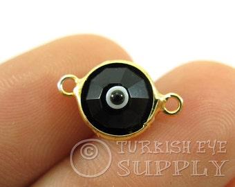 5 pc, Black Evil Eye, Evil Eye Charm, Evil Eye Connector, Evil Eye Bracelet, Turkish Jewelry, Evil Eye Jewelry, Turkish Evil Eye, Evil Eye