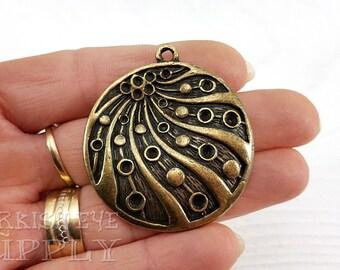 Round Bronze Pendant, Tribal Pendant, Bronze Jewelry, Ethnic Jewelry, Tribal Jewelry, Bohemian Jewelry, Turkish Jewelry Supplies