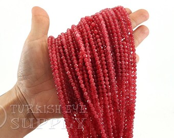 12mm RASPBERRY PINK Round Jade Gemstone Beads 33 beads gjd0192 full strand