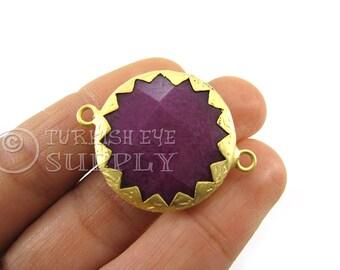 Purple Palatinate Jade 22K Gold Plated Serrated Border Bezel Connector, Turkish Jewelry