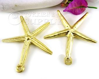 StarFish Pendant, Gold Sea Star Pendant, 22K Matte Gold Plated Star Findings, Turkish Jewelry,