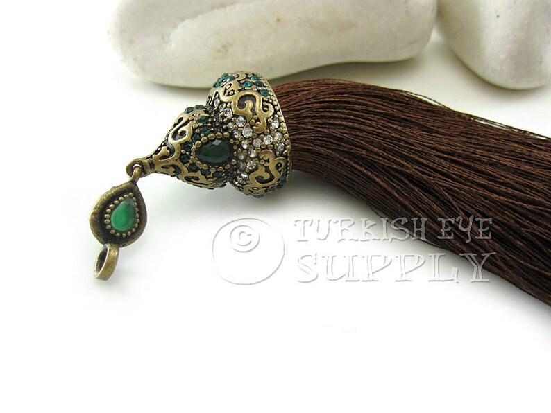 Large Brown Silk Tassel with Antique Bronze Rhinestone Ornate Tassel Cap Vintage Jewelry Turkish Ottoman Jewelry GS Tassel Necklace