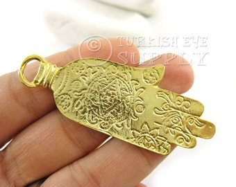 1 Pc Gold Hamsa, Exotic Motive Etched Hand of Fatima Pendant, Matte 22K Gold Plated Turkish Jewelry, Good Luck Charms