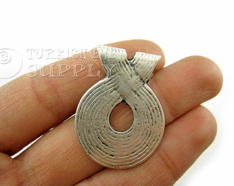 Rustic Tribal Loop Pendant, Matte Antique Silver Plated Turkish Jewelry Supplies