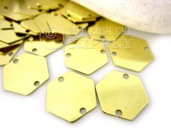 200 pc Raw Brass Hexagon Stamping Blank, 12mm Hexagon Connector, Stamping Tag, Connector Blank