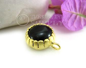 Black Jade Pendant, Matte 22K Gold Plated Bezel Gemstone Pendant, Turkish Jewelry