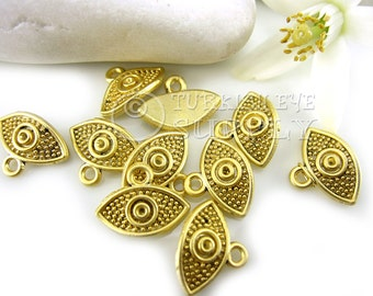 10 pc Gold Evil Eye Charms, Matte 22K Gold Plated Turkish Jewelry
