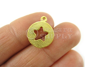 10 pc Cut Out Star Disc Charms 22K Gold Plated Turkish Jewelry, Turkish Findings