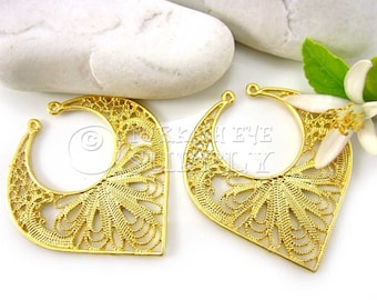 2 pc Large Gold Filigree Pendant, 22K Gold Plated Turkish Jewelry, Necklace Connector