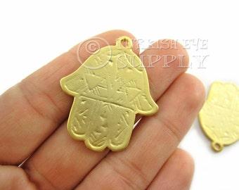 2 Pc Gold Hamsa, Hand of Fatima Pendant, Matte 22K Gold Plated Turkish Jewelry, Good Luck Charms