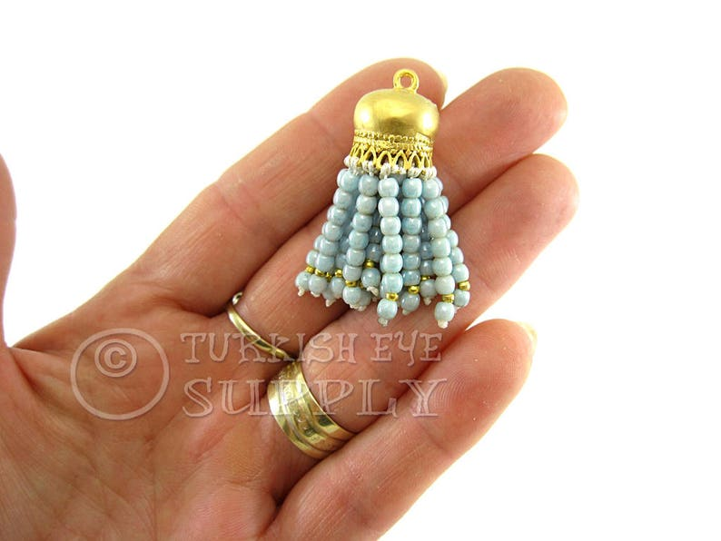 Mini Beaded Tassel Tassel Necklace Blue Pearl Beaded Tassel Mini Tassel Tassel Earring 22K Gold Plated Cap Bohemian Jewelry