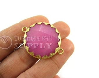 Pink Jade Matte 22K Gold Plated Serrated Border Bezel Connector, Turkish Jewelry